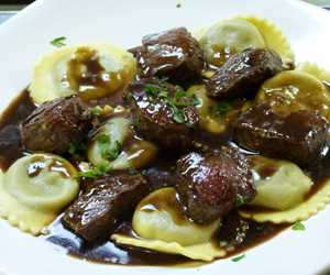 Ravioli with Beef Tips